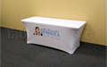 White 6 foot economy spandex table cloth with full colour print