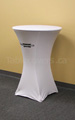 White 30 inch diameter round high boy economy spandex cocktail table cover with black custom printed logo