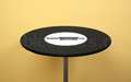 Black 30 inch diameter round high boy economy spandex cocktail table topper cap with white printed logo