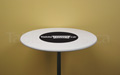 "White 30"" round economy spandex cocktail table topper cap with black custom printed logo"