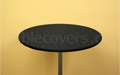 Black plain unprinted 30 inch diameter round high boy economy spandex cocktail table topper cap